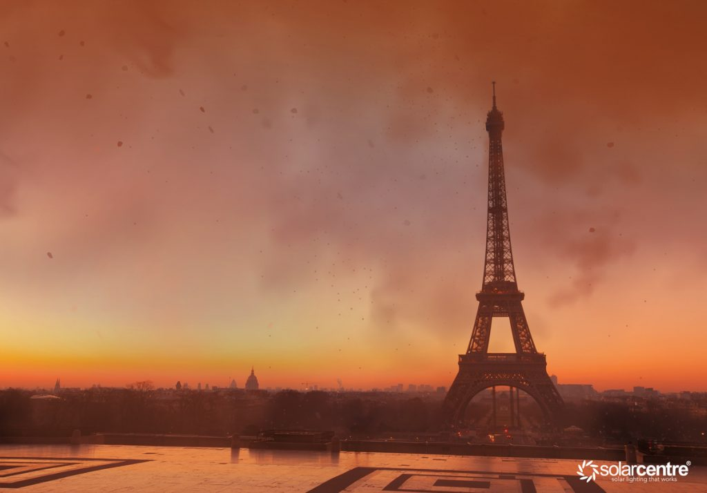 Paris city with red sky from wildfire