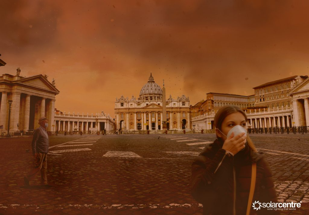 Rome city with red sky from wildfire