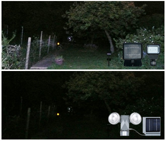 Photo Comparison - Hawkeyes PIR Twin Beam Solar Security Light Vs Evo36