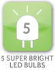 5 Super Bright LED Bulbs