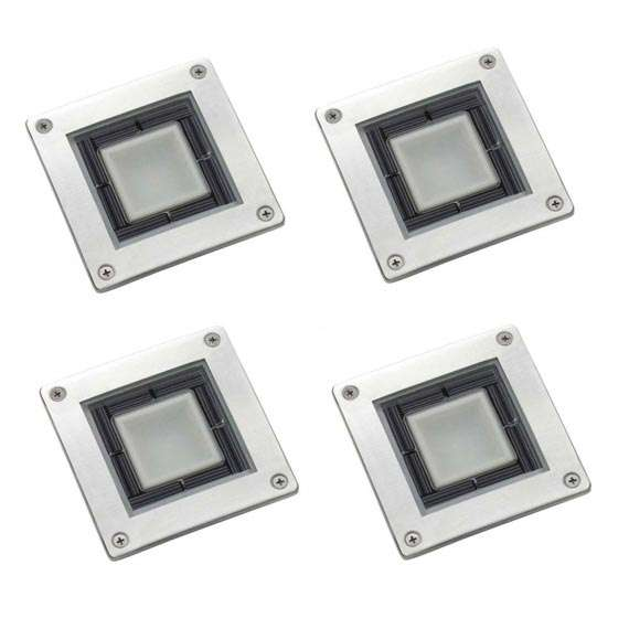 Set Of 4 Solar Square Decking Lights