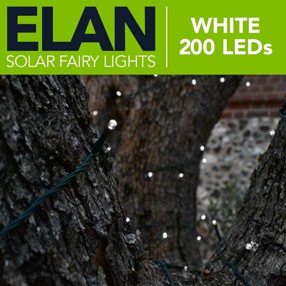 Elan Solar Fairy Lights - White 200 LEDs