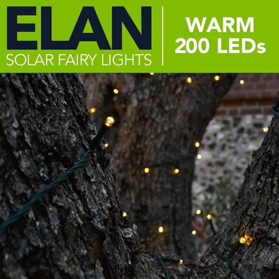 Elan Solar Fairy Lights Warm White 200 Leds