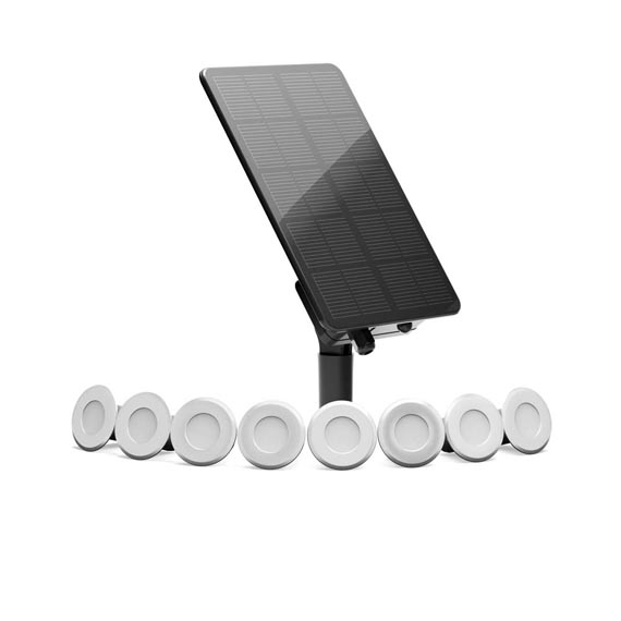 Edinburgh USB Solar Stainless Steel Deck Lights (Set Of 8 Warm White)