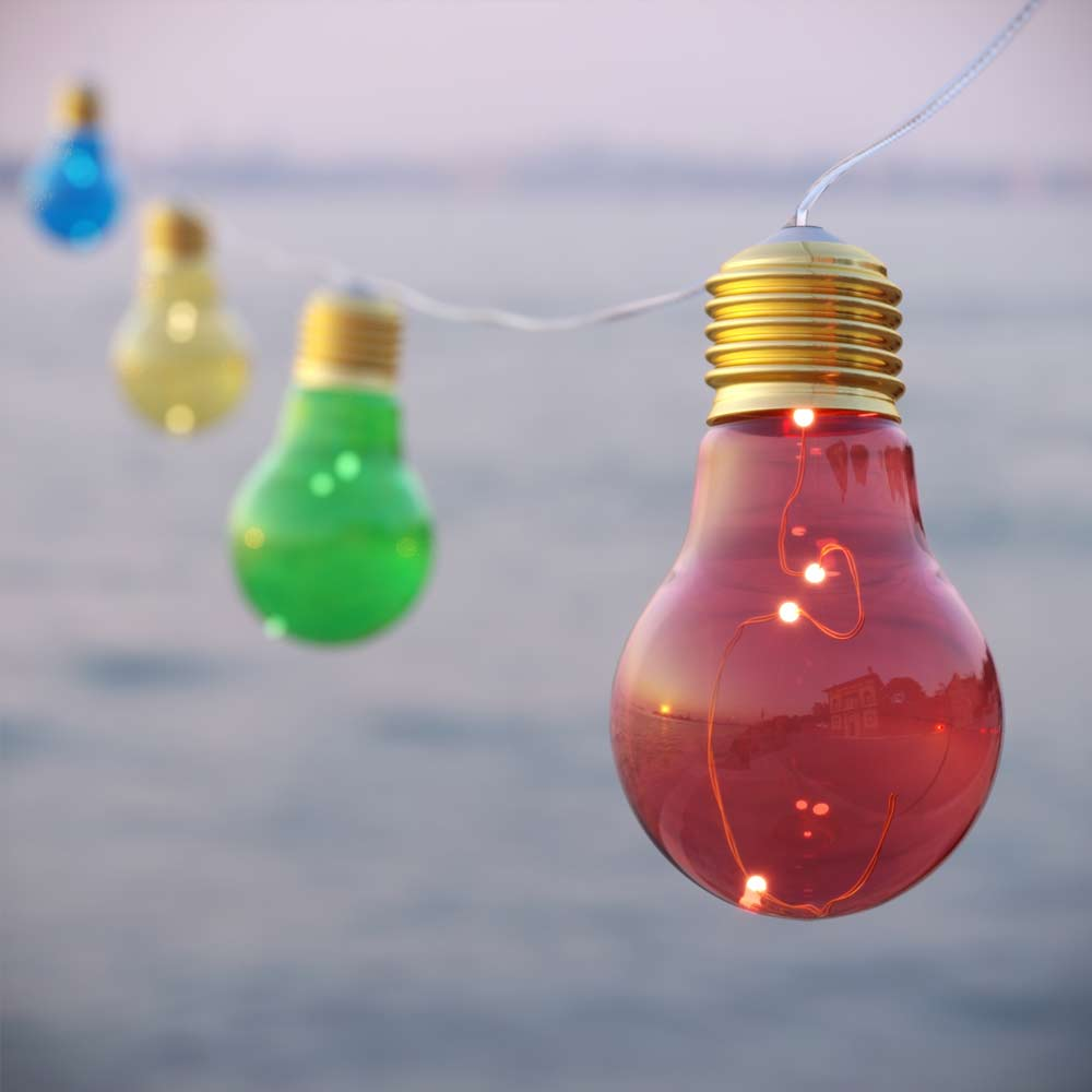 Lumify USB Solar Vintage Bulb Lights Multicolour - Set Of 10