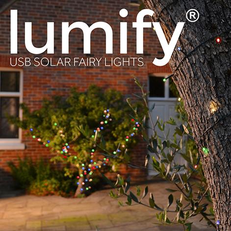 Lumify USB Solar Fairy Lights - Multicolour 100 LEDs