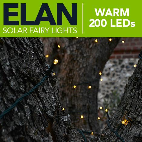 Elan Solar Fairy Lights - Warm White 200 LEDs