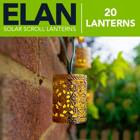 Elan Solar Scroll Lanterns - 20 LEDs