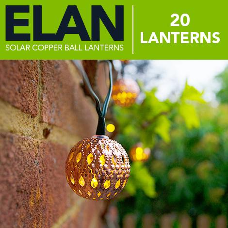 Elan Solar Copper Ball Lanterns - 20 LEDs