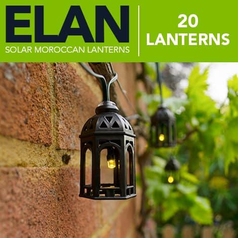 Elan Solar Moroccan Lanterns - 20 LEDs