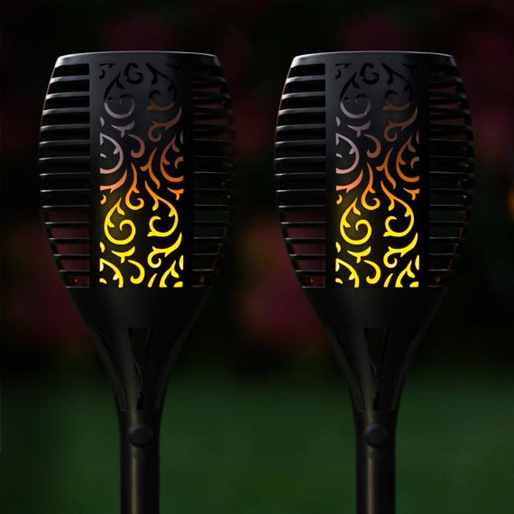 TrueFlame USB Solar Torch Light With Flickering Flame (Set Of 2)
