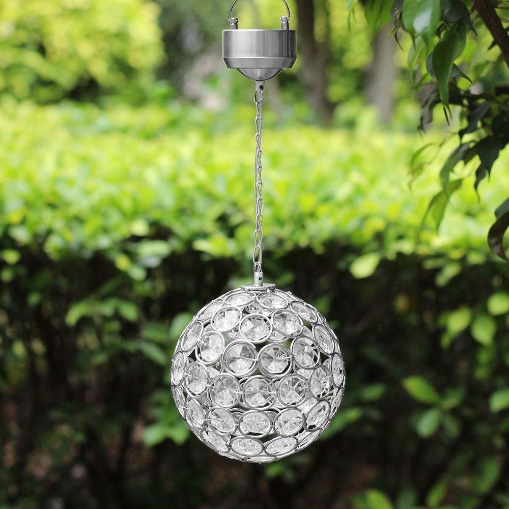 aria solar hanging crystal ball light. Black Bedroom Furniture Sets. Home Design Ideas
