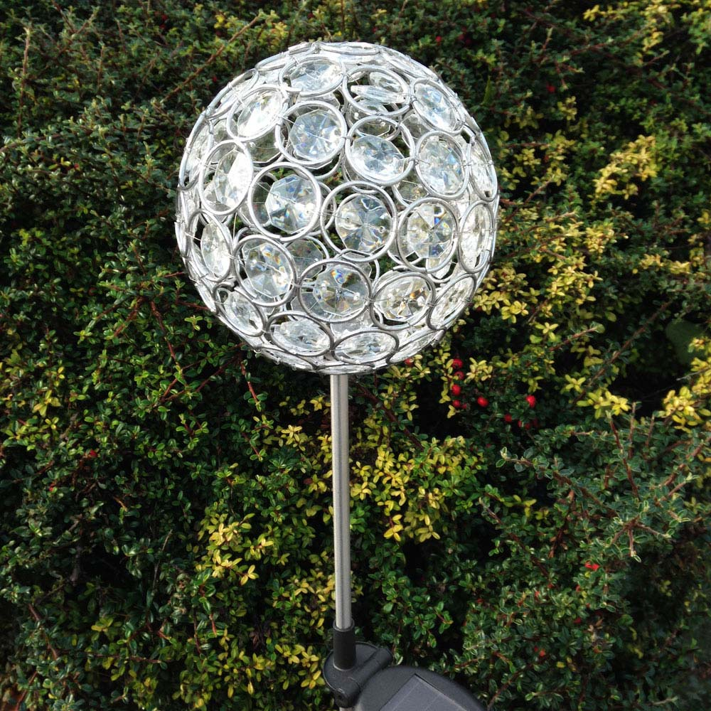 aria solar crystal ball stake light