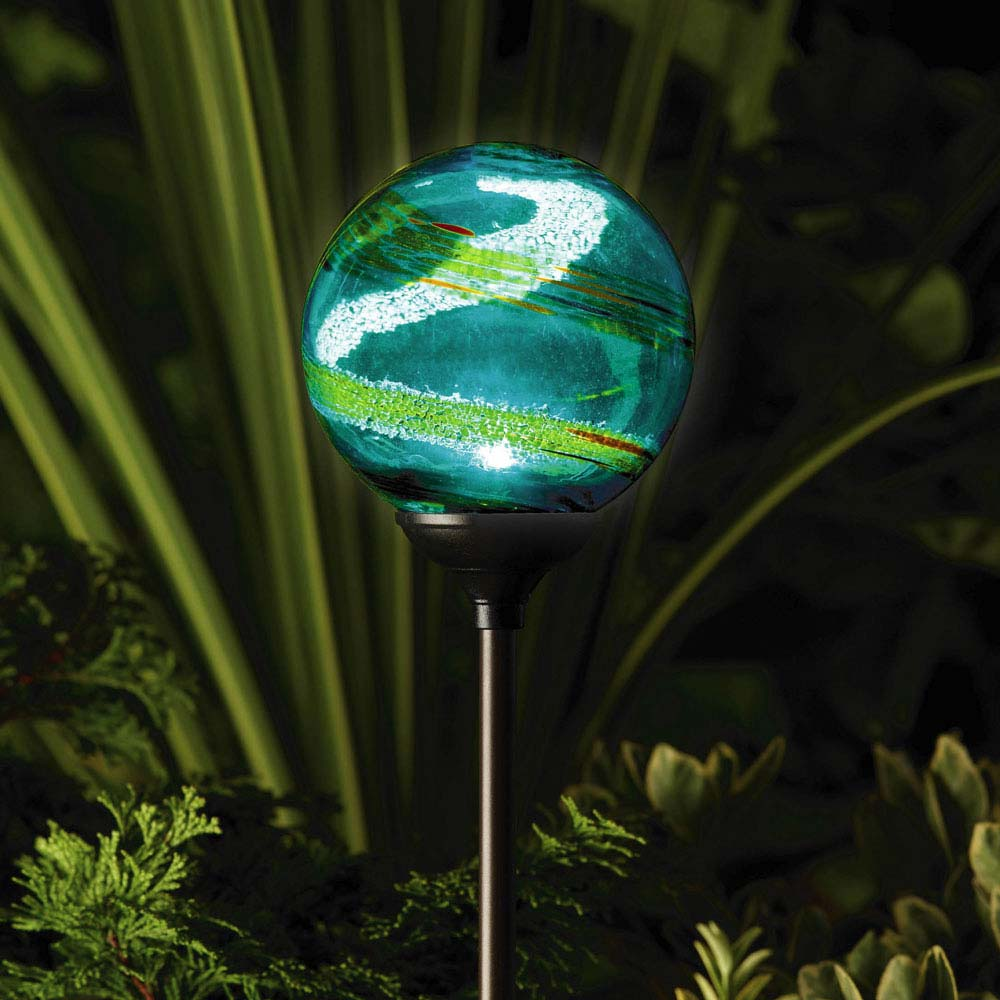 Murano solar garden globe aqua for Garden lights