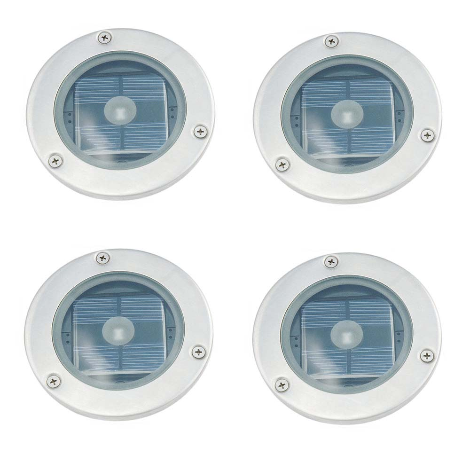Set Of 4 Solar Round Decking Lights
