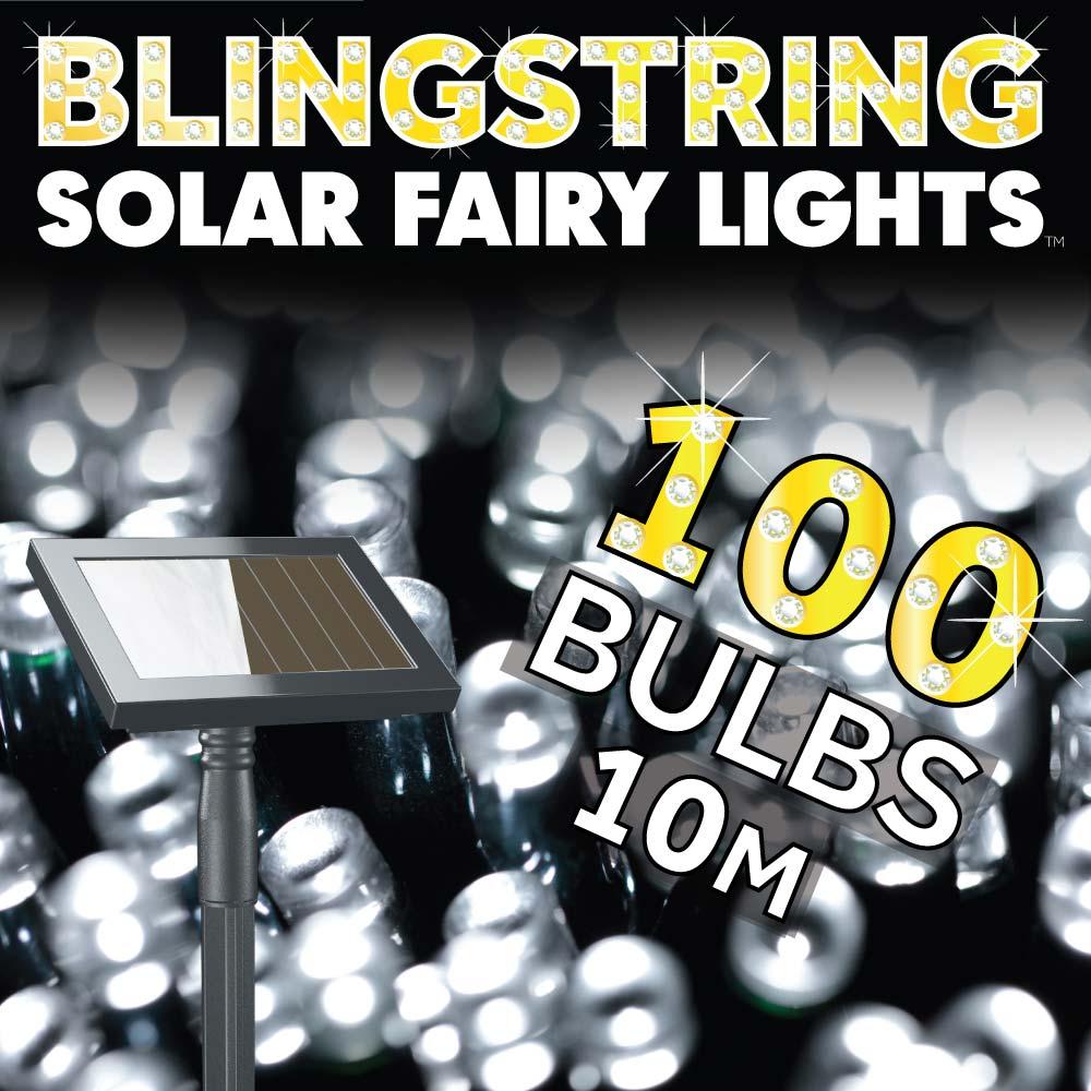 Blingstring Solar Fairy Lights - White 100 LEDs