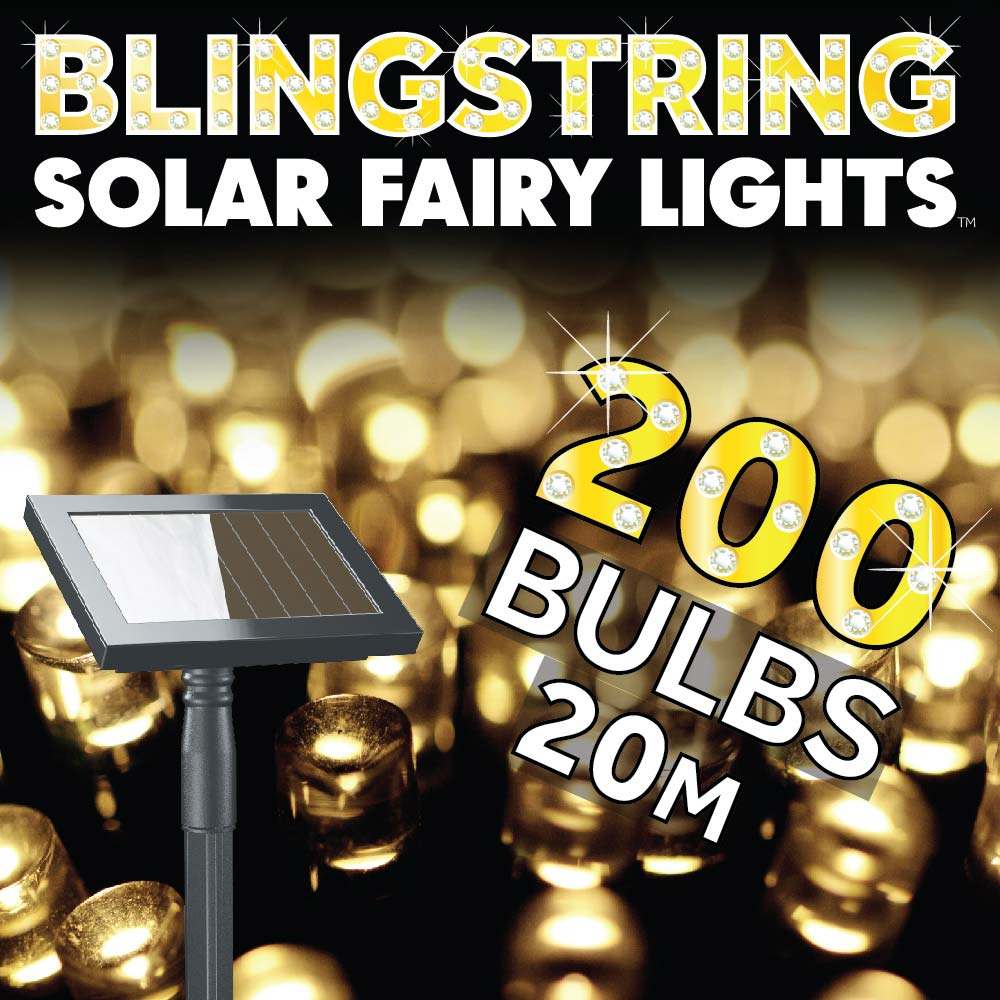 Blingstring Solar Fairy Lights Warm White 200 Leds