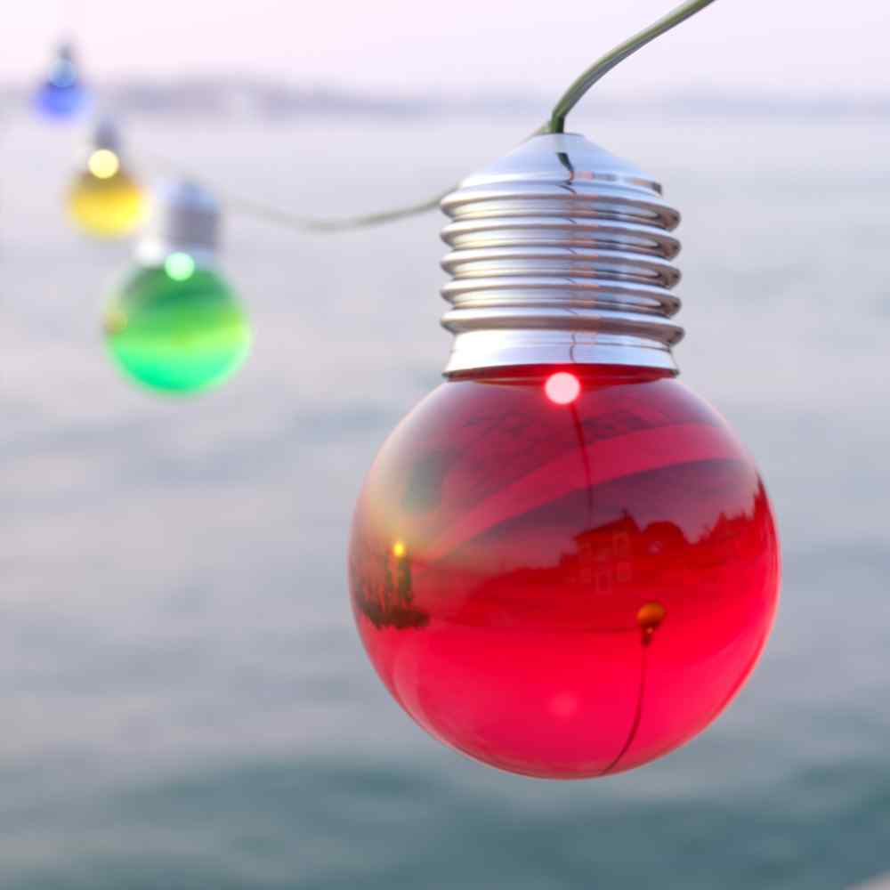 Elan Multicoloured Solar Festoon Lights - 20 LEDs