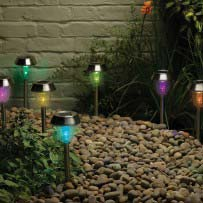 Dual Function Stainless Steel Solar Lights (8-Pack)