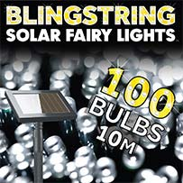 Blingstring Solar Fairy Lights - White 100 LEDs