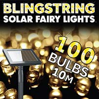 Blingstring Solar Fairy Lights - Warm White 100 LEDs