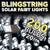 Blingstring Solar Fairy Lights - White 200 LEDs