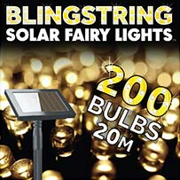 Blingstring Solar Fairy Lights - Warm White 200 LEDs