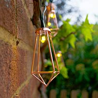 Elan Solar Copper Pendant Lanterns - 20 LEDs